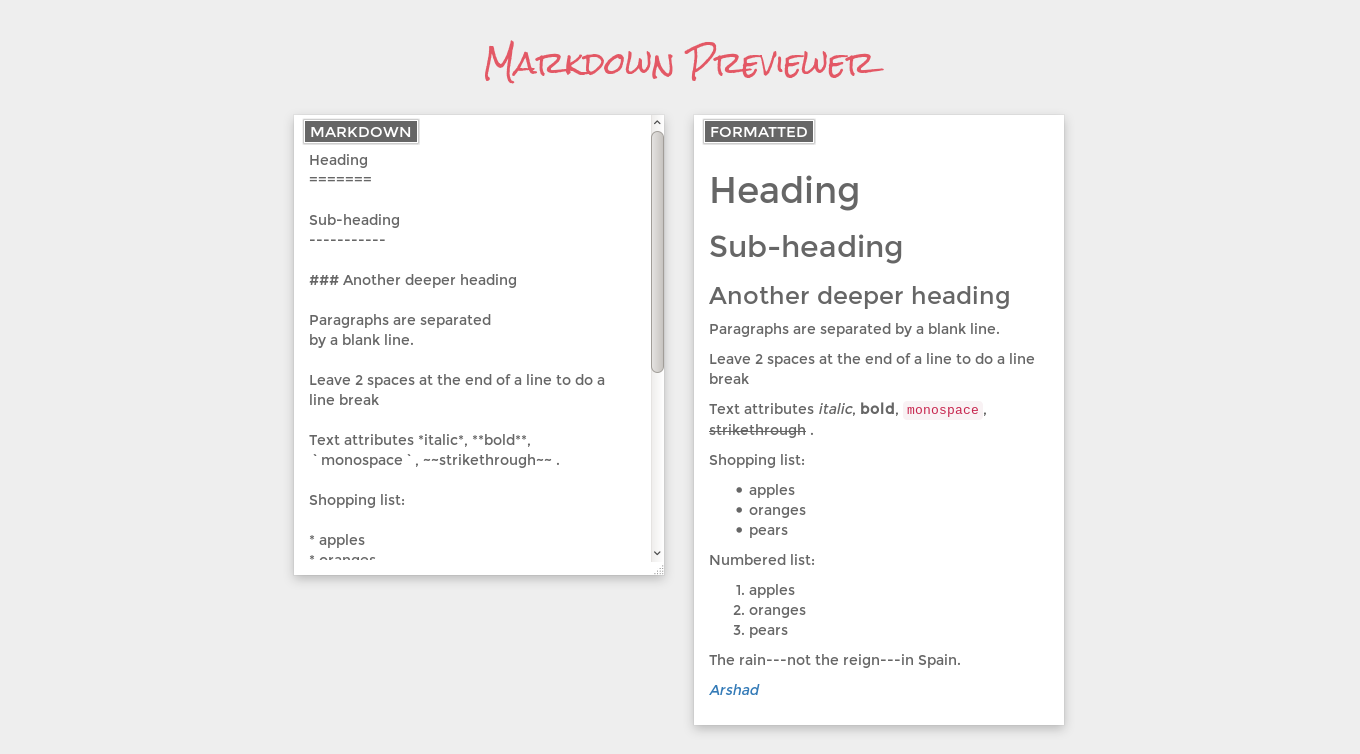 Markdown Previewer